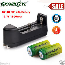 2x 1800mAh Green 3.7v Li-ion 16340 CR123A Rechargeable Battery + Smart Charger