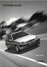 Citroen Saxo Specification 2000 UK Market Brochure First LX SX Exclusive VTR VTS