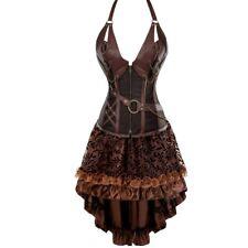 Gothic Steampunk Halter Corset Dress Plus Size Waist Training Corset + Skirt