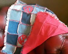 Patchwork Denim Blanket,Camper Van Style Throw,  Dog Blanket,Handmade Denim Rug