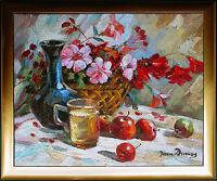 Jean Dumas*1953 Stilleben, Blumenkorb, Äpfel, Vase, Unikat Öl Lw. 50 x 60 cm