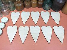Le forme in legno PRIMITIVA CUORI 10cm (x10) Laser Cut legno artigianale Forma in Bianco