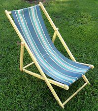 Vintage Wood Folding Ship Deck Chair Striped Canvas Beach Lounge Patio Original