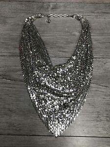 Silver Tone Mesh Bandana Drape Statement Necklace