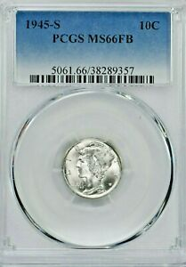 1945-S 10C Mercury Silver Dime PCGS MS66FB (SI:Y-9357) 99c NO RESERVE