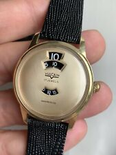 Vintage Vulcain Champagne Dial Jump Hour Mens Watch 34mm Gold Plated