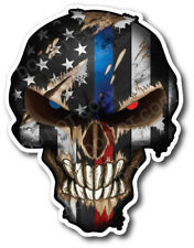 4x Thin Blue Red Line Skull American Flag Bumper Sticker Vinyl Decal Car Truck