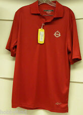Greg Norman Golf Polo Shirt Play Dry New Jersey Nation Club Logo Red S Small