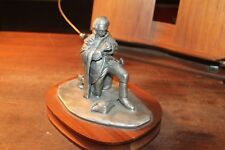 """Large George Washington Praying Pewter Statue Figure 5"""" Tall 7"""" Hardwood Base"""
