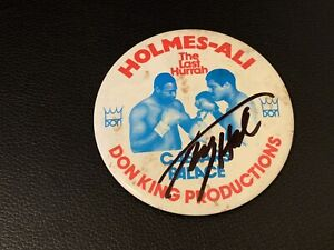 1980 Muhammad Ali Vs. Larry Holmes Signed Vintage BOXING PIN GTP ALL Autograph