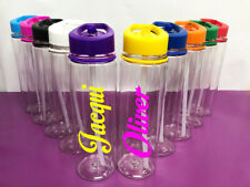 Personalised Custom Clear Water Drink Bottle Colour Lid Motion Name Gym Sport