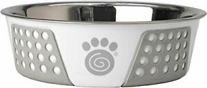 PetRageous Fiji 6.5 cups Stainless Steel Bowl in WhiteLight Gray
