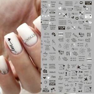 Women Geometric Letter nail sticker Water Slider Russian winter decal Christmas