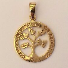 "Gold Plated Solid Sterling Silver Family Tree Pendant ""One Family Many Hearts"""