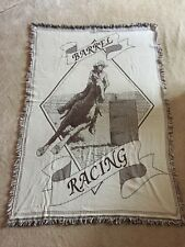 """BARREL RACING Afghan Throw Blanket Rodeo HORSE Cowgirl 50"""" x 70"""" Wall Hanging"""