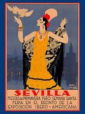 1930 Feria de Sevilla Fiestas  Spain Vintage Travel Advertisement Poster