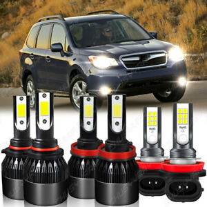 For Subaru Forester 2014-2019 6000K LED Headlights High Low Fog Light Bulbs Kit