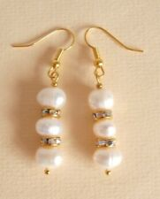 Freshwater Pearl AB Rhinestone Gold Wedding Party Prom Earrings Gift Bag
