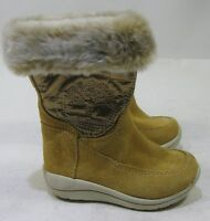 Girls Timberland Waterproof Suede Boots Toddler Wheat Faux Fur Size 4.5 C