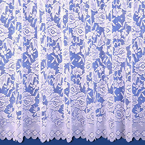 Balmoral Scalloped Net Curtain - Finished In White - Sold By The Metre