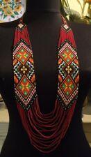 Long BEADED NECKLACE gerdan HANDCRAFTED Jewelry Ukrainian Folk traditional