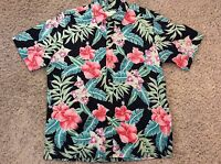 Vintage COOKE STREET Hawaiian Aloha Shirt XL 100% COTTON Black Multi-Color STYLE