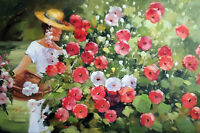 Woman Big Straw Hat Flower Garden 24X36 Oil On Canvas Painting By Hand STRETCHED