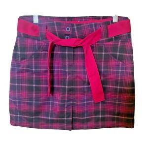 Women's NIKE Tartan Plaid Golf Skirt w/removable shorts Size 4 Small Purple/Pink