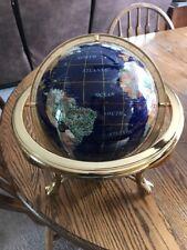 "14"" Blue Lapis Gemstone Globe With Gold Stand Compass inlayed 30 Gemstones"