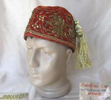 VINTAGE MUSLIM ISLAMIC GOLD EMBROIDERED RED VELVET JINNAH CAP HAT
