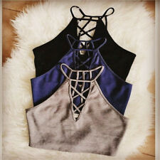 New Women Vest Sleeveless  Female Crop Top T-shirt Faddish Simple Black Clothing