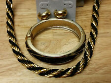 3 pc set Gold tone & Black metal chain necklace 31 in earrings & bangle bracelet