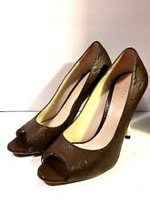 GUCCI - GG LOGO PUMPS BROWN LEATHER HIGH HEEL OPEN TOE ( SIZE 36 1/2 )