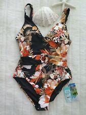 Seafolly 10 AUS/ 6US  Bora Bora Flora V Neck One Piece Maillot Black New $169.95
