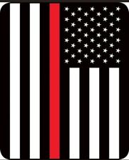"*NEW* Fire Department Black & White w/ Red Stripe Flag Blanket Queen 79""x96"""
