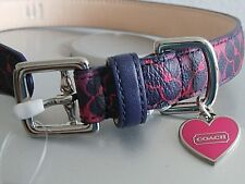 NEW COACH WAVERLY SIGNATURE NAVY BLUE & PINK W HEART CHARM DOG COLLAR SMALL S