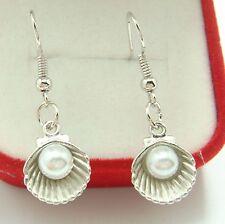 925 Silver Plated Hook -1.4'' Pearl Shell Simple Drop Elegant Women Earrings s1v