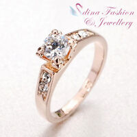 18K Rose Gold Plated Made With Swarovski Element 4 Claw Round Cut Wedding Ring