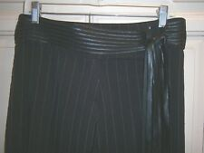 "BEBE  Black & White ""MAFIA  WIFE"" striped DRESS PANTS~Self Belt FRINGED Leather"