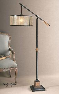SITKA MID CENTURY MODERN AGED BLACK METAL & WOOD FLOOR LAMP MICA SHADE UTTERMOST