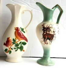 "2 vintage Souvenir Pitchers Vases collectible Birds Buck Colorado Usa 6"" luster"