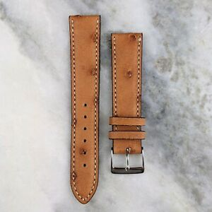 Genuine Ostrich Leather Watch Strap - Mid Brown - 19mm