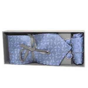 Set coordinato art 00235 uomo cravatte con gemelli e pochette blu fantasia elega