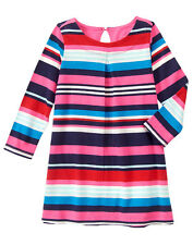 NWT Gymboree MIX N MATCH Navy Teal Pink Red White Striped LS Shift Dress~4T~