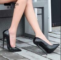 16CM Womens Stilettos High Heels Patent Leather Pointy Toe Shoes Pumps Plus size