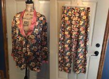 Vintage Victoria Secret Pajama Set Paisley Floral Satin Two Piece Gold Label (L)