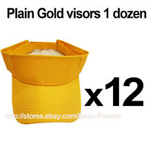 ***GOLD YELLOW*** WHOLESALE LOT OF 12 PLAIN BLANK SOLID SPORTS SUN VISORS