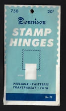 **Vintage DENNISON STAMP HINGES UNOPONED PACKAGE 750 PEELABLE, TASTLESS, THIN...