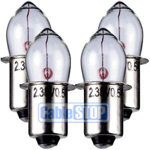 PR15 2.4v TORCH LIGHT BULB PRE FOCUS 4 PACK 500mA P13.5s Fitting Olive Lamp