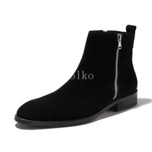 British Mens Real Suede Leather Chelsea Ankle Boots Shoes Nightclub Party Zipper